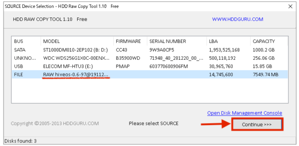 HiveOSのイメージファイルを選択2